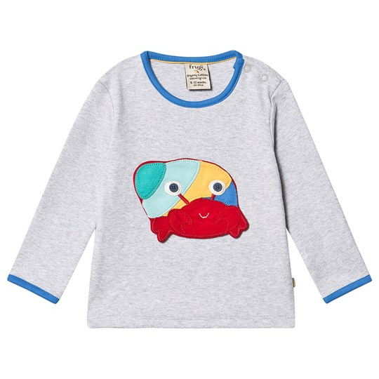 Frugi Button Off Applique Top Grey Marl/Sea Friends Grey Marl/Sea Friends