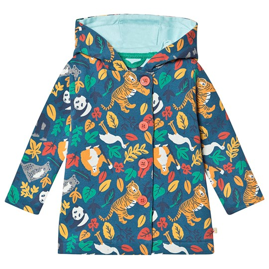 Frugi Cozy Button Up Jacket Steely Blue Endangered Hero Steely Blue Endangered Hero