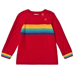 Frugi Caleb Cable Knit Sweater Tango Red/Rainbow