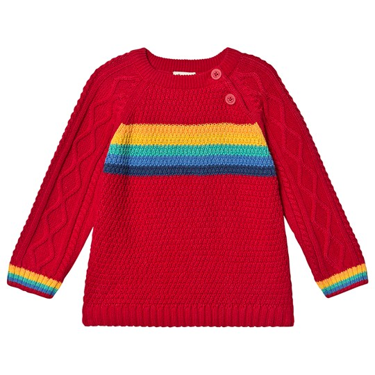 Frugi Caleb Cable Knit Sweater Tango Red/Rainbow Tango Red/Rainbow