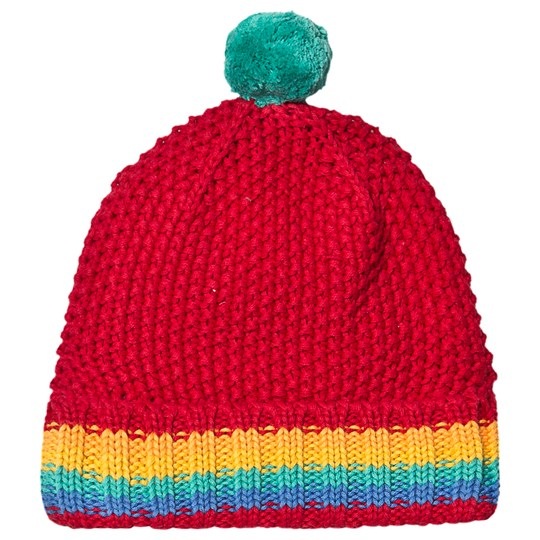 Frugi Red Organic Rainbow Knitted Bobble Hat Tango Red/Rainbow