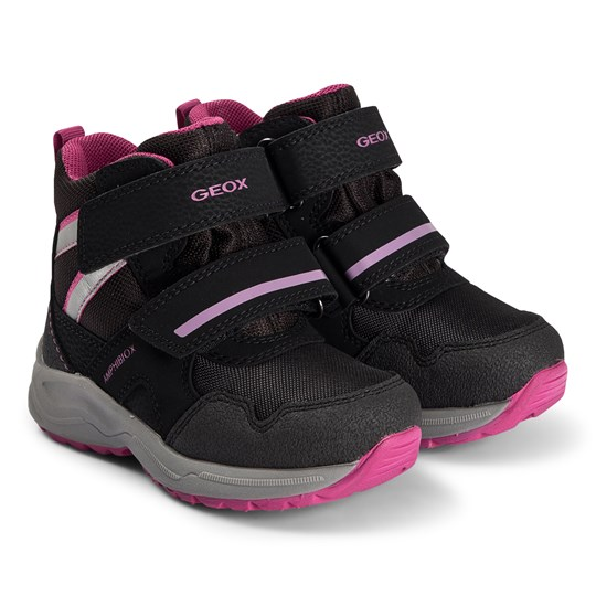 Geox Kuray Amphibiox Boots Black and Pink C0922