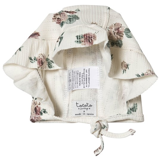 Tocoto Vintage Flower Ribbed Bonnet Off White off-white