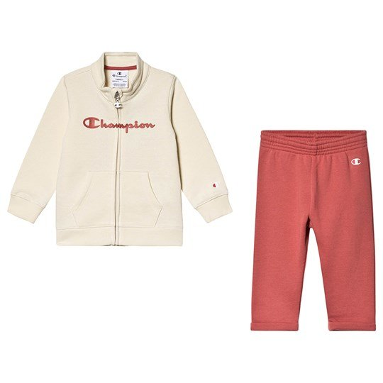 Champion Infants Zip Sweater and Sweatpants Set Cream/Pink WAG/MLR