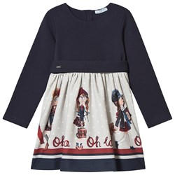 Mayoral Graphic School Girls Belted Dress Navy