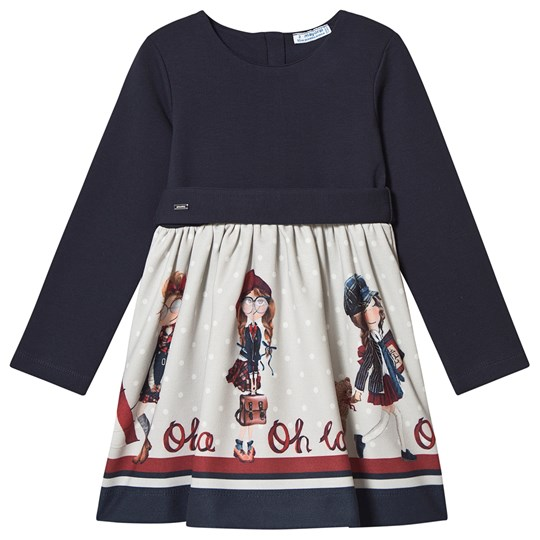 Mayoral Graphic School Girls Belted Dress Navy 80