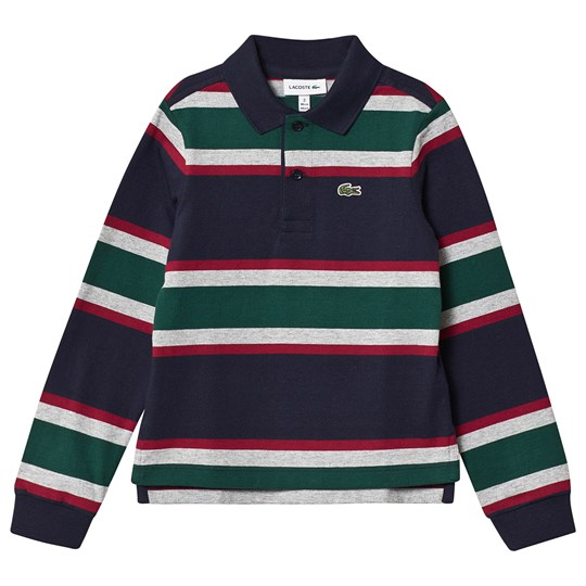 Lacoste Stripe Jersey Long Sleeve Polo Navy QRN