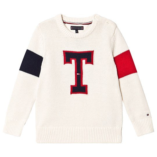 Tommy Hilfiger T Badge Knit Sweater Cream G65
