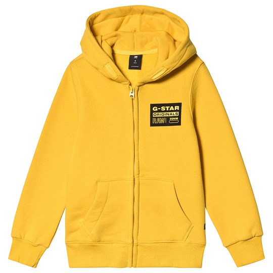 G-STAR RAW Logo Zip Front Hoodie Yellow 73