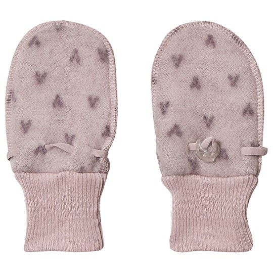 Joha Double Layer Wool Mittens Pink Big V G