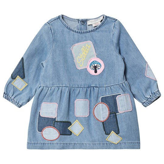 Stella McCartney Kids Soft Wash Denim Dress with Patches and Badges Blue 4263
