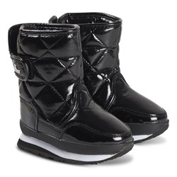 Rubber Duck Quilted Patent Boots Black