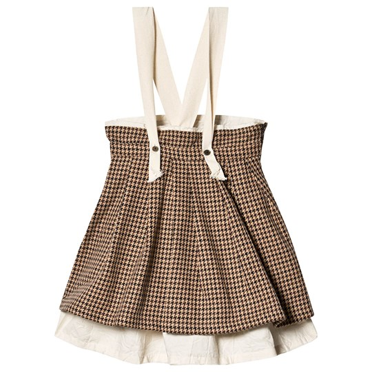 Little Creative Factory Brown Wool Tweed Skirt with Braces Fawn