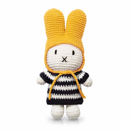 Just Dutch Miffy Crochet Doll with Striped Dress/Yellow Hat Black