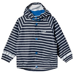 Image of Muddy Puddles Navy og Hvid Stribet PU Regnjakke 5-6 years (1482754)
