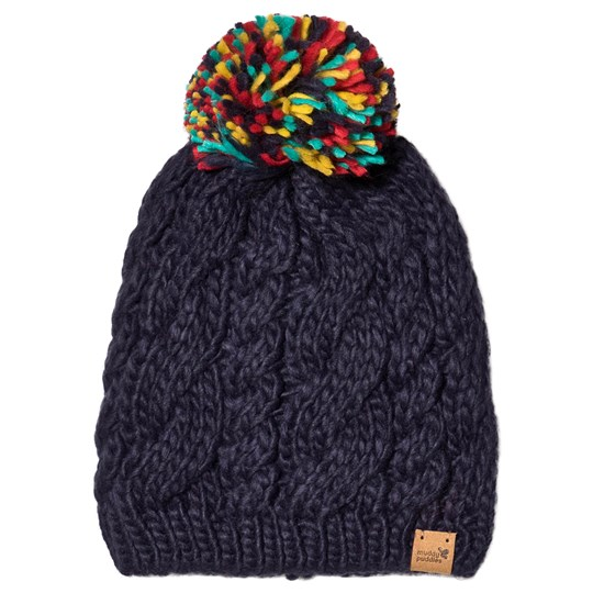 Muddy Puddles Pompom Bobble Hat Navy/Multi Navy