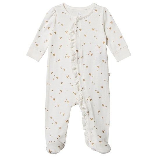 GAP Heart Footed Baby Bosy Ivory Frost IVORY FROST
