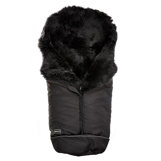 BOZZ Wool Lambskin Footmuff Black Melange-grey
