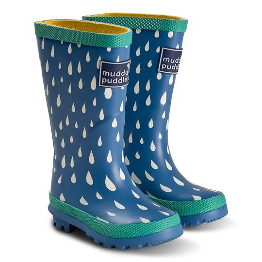 Muddy Puddles Puddlestomper Rain Boots Blue VICTORIA BLUE