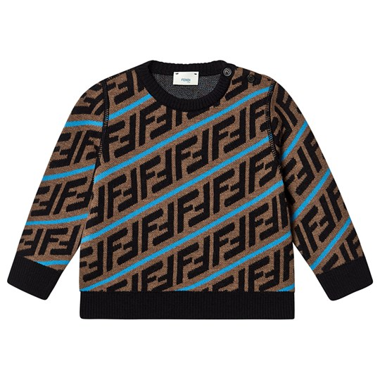 Fendi Logo Sweater Brown and Blue F17TR