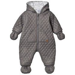 Absorba Quilted Faux Fur Lined Coverall with Mittens Grey