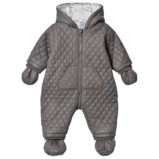 Absorba Quilted Faux Fur Lined Coverall with Mittens Grey 28