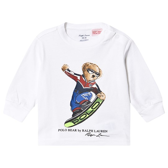 Ralph Lauren Snowboarding Bear Long Sleeve Tee White 002
