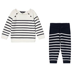 Joules Knitted George Infants Top & Bottom Set Navy/Cream Stripe