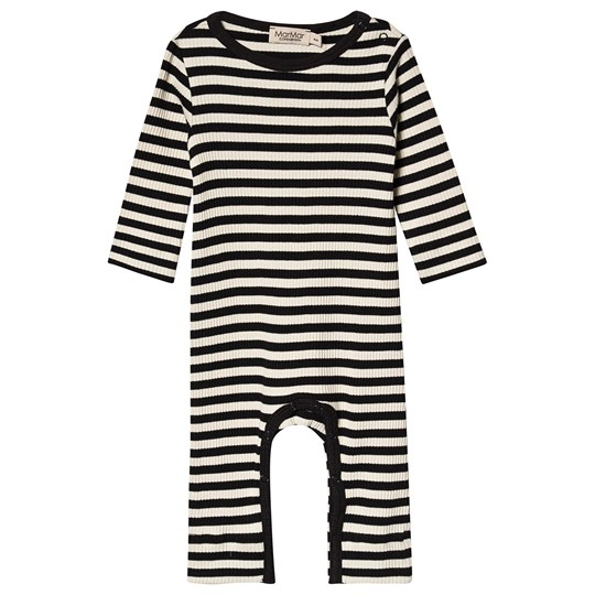 MarMar Copenhagen Plain Rompy Baby Boduysuit Sort og Off White Black/Off White
