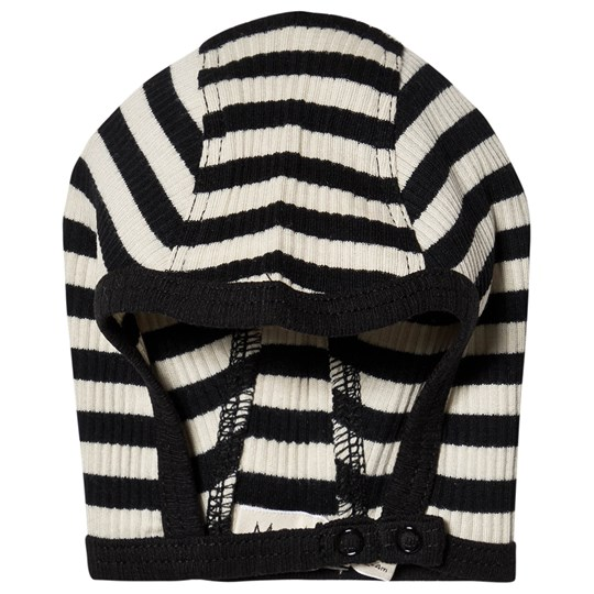 MarMar Copenhagen Hoody Hat Caviar and Off White Black/Off White