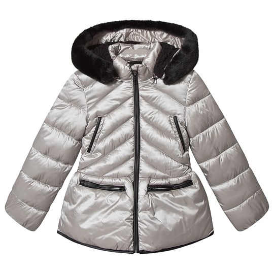 Mayoral Silver Fleece Lined Hooded Padded Coat 65