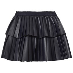 Mayoral Pleather Tiered Pleated Skirt Navy