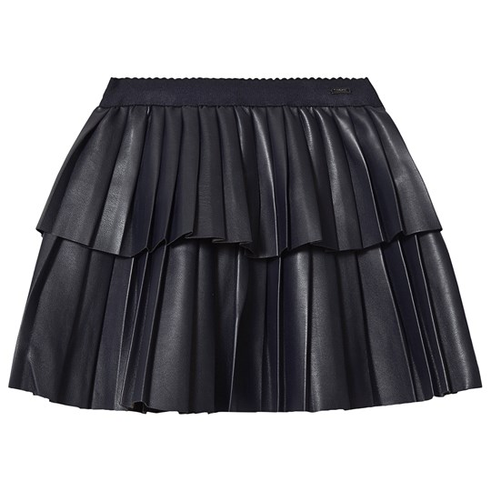 Mayoral Pleather Tiered Pleated Skirt Navy 18