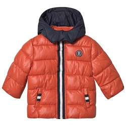 Mayoral Padded Coat with Detachable Hood Orange and Navy