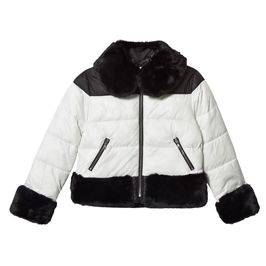 Mayoral Faux Fur Puffer Coat Black/White 2