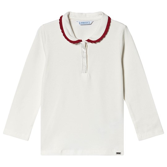 Mayoral Top with Red Trim Collar White 63