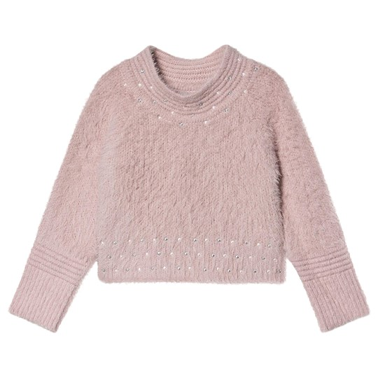 Mayoral Pearl Detail Fluffy Knit Sweater Pink 53
