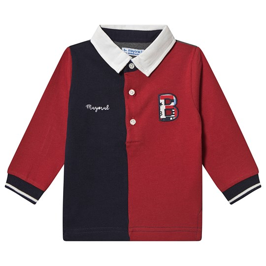 Mayoral Branded Long Sleeve Rugby Shirt Red/Navy 21