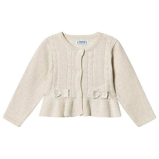 Mayoral Lurex Bow Detail Peplum Cardigan Cream 27