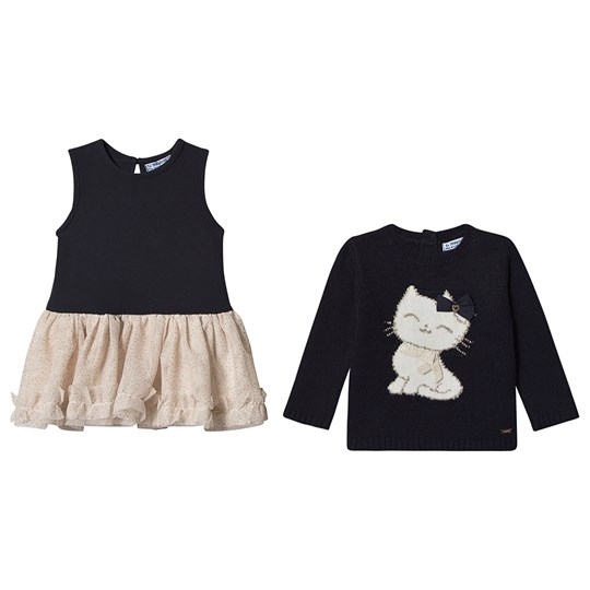 Mayoral 2-Piece Set Tulle Skirt Dress and Cat Sweater Navy/Blush 28