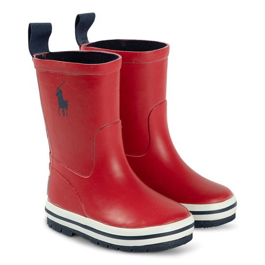 Ralph Lauren Kelso Rain Boots Red and Navy Red