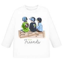 Mayoral Making Friends Long Sleeve Tee White