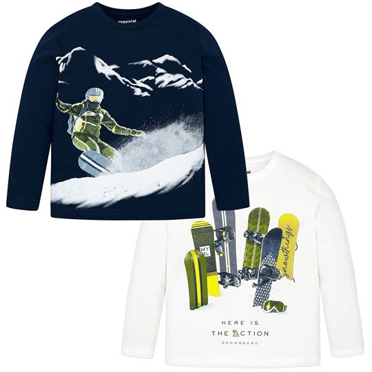 Mayoral 2 Pack Snowboarding Long Sleeve Tee Navy/White 86