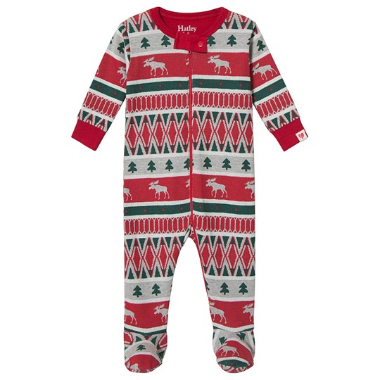 Hatley Winter Fair Isle Footed Baby Body Grey and Red Red