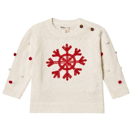 Hatley Snowflake Pom-Pom Sweater Off White Natural