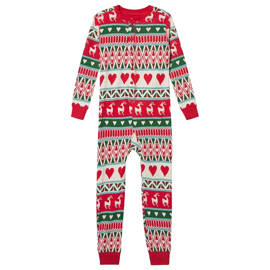 Hatley Deer Fair Isle One-Piece White and Red Natural