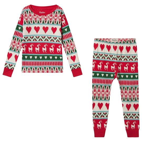 Hatley Mistletoe Deer Fair Isle Pajamas White and Red Natural