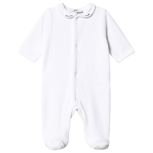 Cyrillus Velour Footed Baby Body White 6349