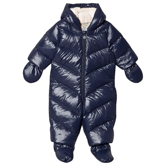 Bonpoint Nylon Snowsuit with Detachable Mittens and Booties Navy 077