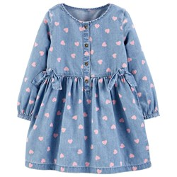 Carter's Chambray Heart Dress Blue